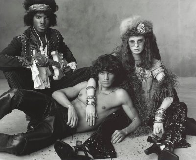 Cyrille Victor as Jimi Hendrix, Matt Duffie as Jim Morrison, and Karen Elson as Janis Joplin Nico Jim Morrison
